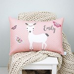 Pretty Blush Pink Deer Personalised Custom Cushion