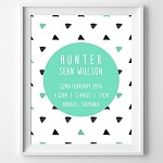Print - Watercolour Triangles (black and Aqua)