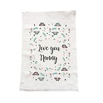 Personalised Butterfly Kisses Mother's Day tea towel