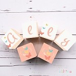 Personalised Name Wooden Blocks - Peach Butterfly