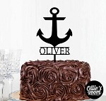 Personalised Nautical Anchor and Name Cake Topper