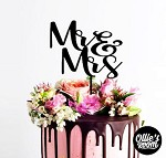 Mr and Mrs Cake Topper Custom Wedding