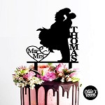 Wedding Cake Topper Silhouette - Mr&Mrs Surname with date in heart