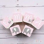 Personalised Name Wooden Blocks - Pink Elephant