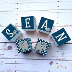 Personalised Name Wooden Blocks - Navy Elephant