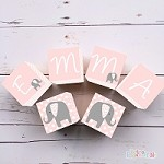 Personalised Name Wooden Blocks - Light Pink Elephant