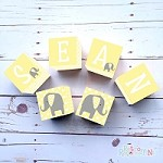 Personalised Name Wooden Blocks - Yellow elephant