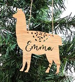 Llama Alpaca Personalised Christmas Ornament