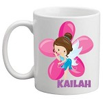 Personalised Kids Mug/Cup - Blue Fairy with Flower