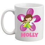 Personalised Kids Mug/Cup - Green Fairy/ Purple Flower