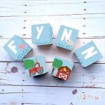 Personalised Name Wooden Blocks - Farm Blue