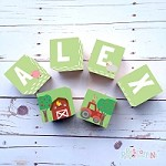 Personalised Name Wooden Blocks - Green Farm