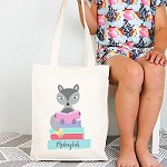 Personalised Pink Reading Fox Design TOTE Bag
