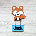 Door Shape with Name - Woodland Fox