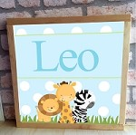 Personalised Framed Name Plaque - Blue Animal