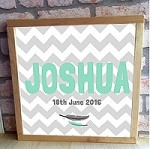 Personalised Framed Name Plaque - Feather