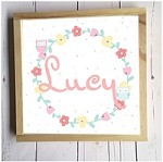 Personalised Framed Name Plaque - Floral Wreath