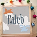 Personalised Framed Name Plaque - Grey Planes