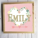 Personalised Framed Name Plaque - Heart Wreath