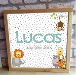 Personalised Framed Name Plaque - Jungle Dots