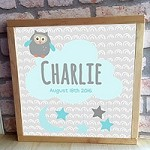 Personalised Framed Name Plaque - Owl Cloud