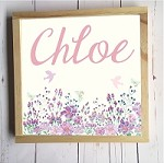 Personalised Framed Name Plaque - Purple Wildflower