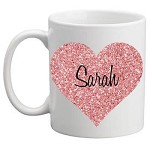 Personalised Kids Mug/Cup - Glitter Heart
