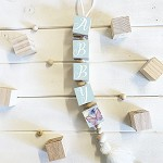 Personalised Hanging Name Blocks - Green Butterfly