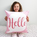 Hello Speech Bubble Personalised Girls Cushion
