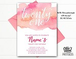 Twenty One First Birthday Invitation - ANY AGE