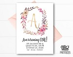 Personalised Floral Wreath Monogram Birthday Invitation