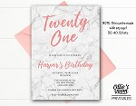 Peach and Marble ANY AGE Birthday Invitation - ANY AGE