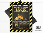 Construction Birthday Invitation - Stop the Traffic