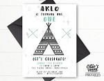 Teepee and Arrow Birthday Invitation