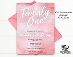 Pink Watercolour ANY AGE Birthday Invitation - ANY AGE