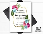 Personalised Gold Floral Wreath Wedding Invitation