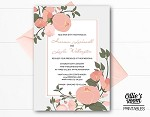 Personalised Peachy Floral Wedding Invitation