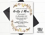 Personalised Country Rustic Floral Wedding Invitation