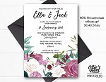 Personalised Rose Pink Floral Wedding Invitation