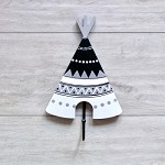 Kids Coat Hook Black and White Teepee