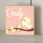 Lace Bird Personalised Wooden Name Plaque