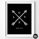 Love with Arrows Personalised Poster Print