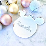 SALE - SAMANTHA  Mickey Mouse Christmas Ornament SILVER