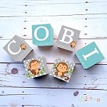 Personalised Name Wooden Blocks - Monkey Grey
