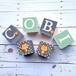 Personalised Name Wooden Blocks - Navy Monkey
