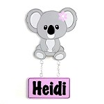 Door Shape with Name - Koala (pink)