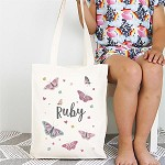 Personalised Butterfly Library Tote Bag