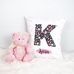Personalised Floral Initial Birth Print Cushion