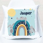 Rainbow Bunny Blue Personalised Cushion
