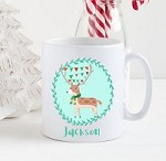 Personalised Kids Mug  -Christmas Woodland Reindeer